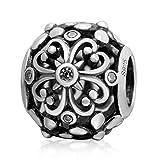Soulbead ajouré Lucky Trèfle Charm perle en argent sterling 925Zircone transparente pour marque européenne Bracelet Bijoux