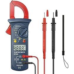 AstroAI Pince Ampèremétrique Numérique, Multimètre de Mesure Automatique et Voltmètre; Mesure Testeur de Tension, Courant Alternatif, Résistance, Continuité; Diodes Tests