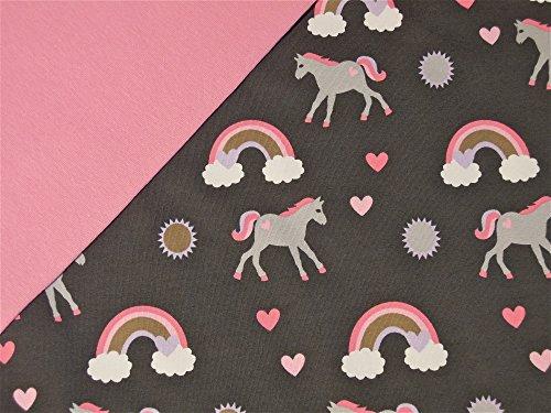 05m-Jersey-Einhrner-grau-05m-Bndchen-uni-rosa-Breite-70cm-Schlauchware-2x35cm-Muster-Mix-95-Baumwolle-5-Elastan