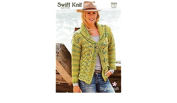 9b8939b58 Stylecraft 9069 Knitting Pattern Ladies Cardigan in Swift Knit Super Chunky   Amazon.co.uk  Kitchen   Home
