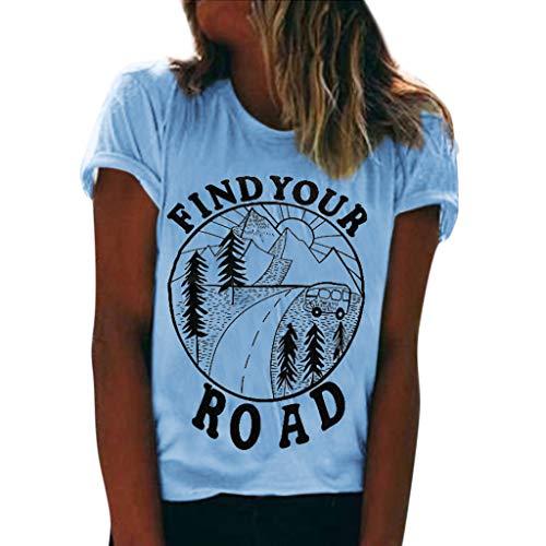 Damen Sommer T-shirt LILICHIC Mode Kurzarm Oberteile Casual Bluse Rundhals Tops Frauen Chic Tuniken Drucken Top -