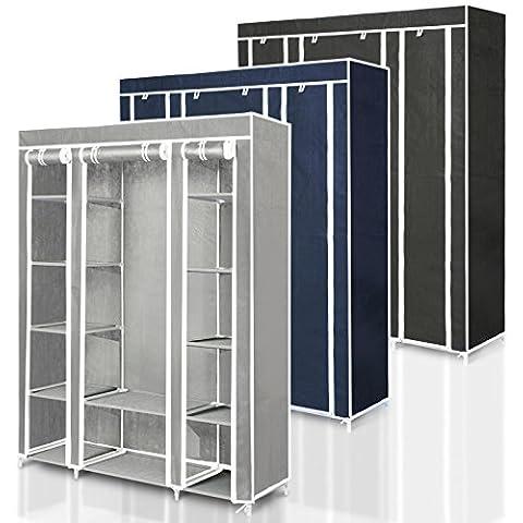 casa pura lona Triple, Carlos | Perchero para almacenar ropa y estantes | 3 colores disponibles - 175 x 150 x 45 cm, Gris