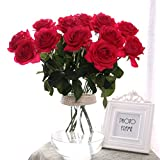 Künstliche Rose,Real Touch Silk Latexblume hochwertige künstliche Rose Blumen Kunstblumen Dekoration Blumenstrauß DIY Rosen für Blumenarrangement für Valentinstag Geburtstag Weihnachtsgeschenk(Rot)