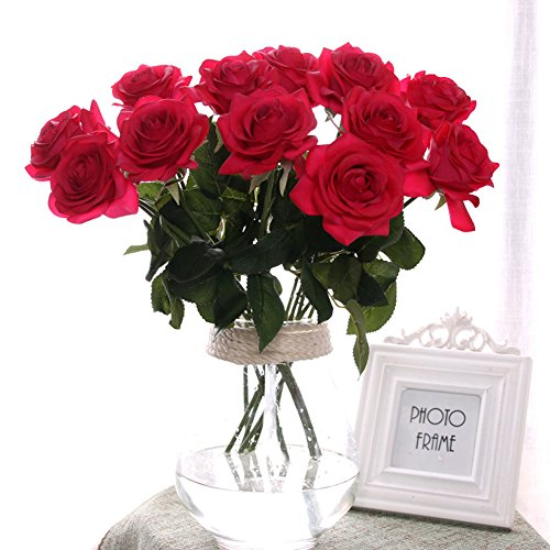 liche Rose,künstliche Rose Blumen Kunstblumen Blume Dekoration Blumenstrauß DIY Rot Rosen Blumenarrangement (Seide Rote Rosen)