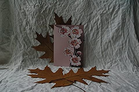 Unique Cherry Blossom Unusual Gift Card/ Sakura Blossom/ Hand Made Painted Card/ Personalised Cherry Blossom/Wedding Card.
