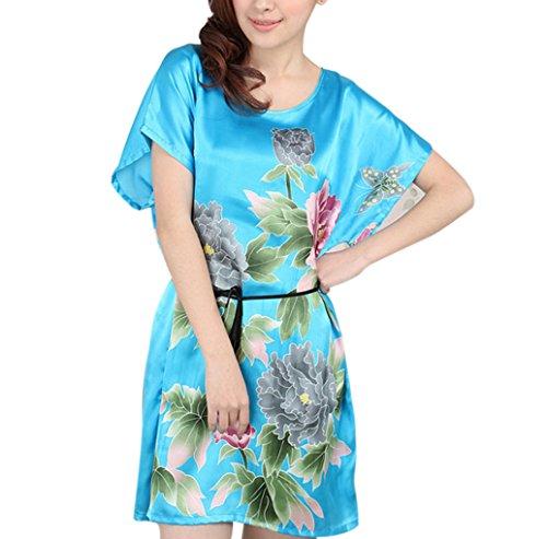 FakeFace Elégant Lingerie Nuisette Imprimé Pivoine Sleepwear Silk-like Pyjamas-Robes Soie Nightdress Eté Femme Bleu Clair