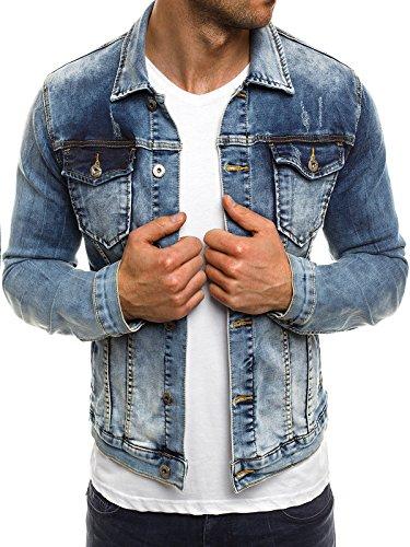 OZONEE Herren Übergangsjacke Jacke Jeansjacke Denim Sweats Sweatjacke Frühlingsjacke Jeans ADREXX 132J