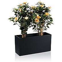 para interior y exterior maceta jardinera visio fibra de vidrio macetero color negro mate maceta grande resistente