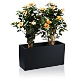Pflanztrog Blumentrog VISIO Fiberglas Blumenkübel - Farbe: schwarz matt - großer wetter- und winterfester Pflanztopf für Innen & Außen, robuster & UV-beständiger Pflanzkübel