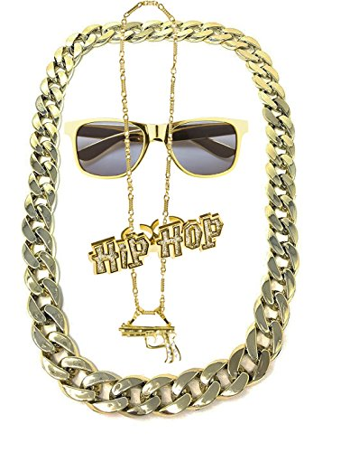 Lude BABO Macho Prolethen Hiphop Rapper Sets 4 teilig Ketten Brille Ring (Kette Colt)