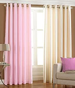 Indian Online Mall Pack of 2 Piece polyester Plain Window Curtain Set - 5 feet, Curtain(Baby Pink and Cream)
