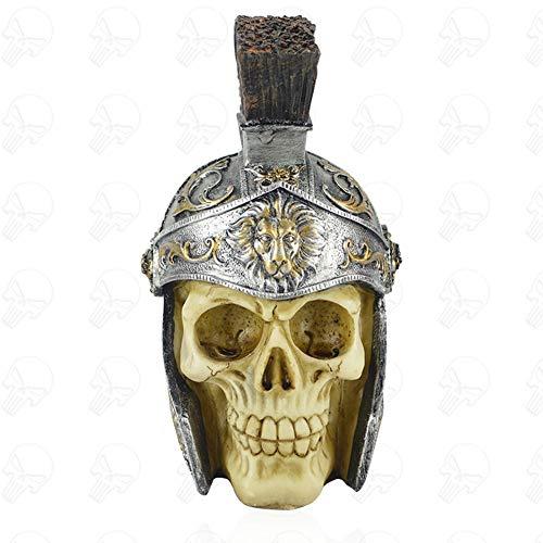 YKQ WS Halloween Dekoration Römischer Soldat Schädel mit Helm Harz Material 1KG