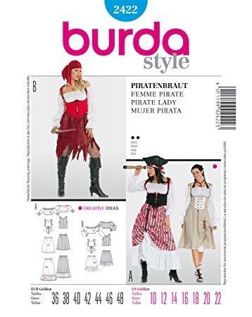 Burda 2422 Schnittmuster Kostüm Fasching Karneval Piratenbraut Piratin (Damen, Gr. 36-48) – Level 2 leicht