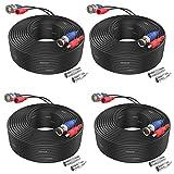 SANNCE Paquete 4pcs Cable 30m/100 pies de BNC Video Fuente de Alimentación para Kit CCTV Cámara de Vigilancia DVR Sistema Seguridad Hogar (4 pack)