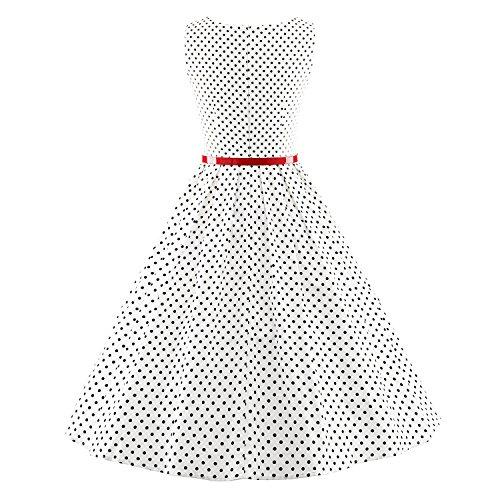 LUOUSE Damen 50s Retro vintage Bubble Skirt Rockabilly Swing Evening Kleid 2-V057-White