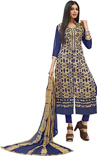 Vaidehi Fashion New Arrival Women's Blue Taffeta Semi Stitched Indo Western Salwar...