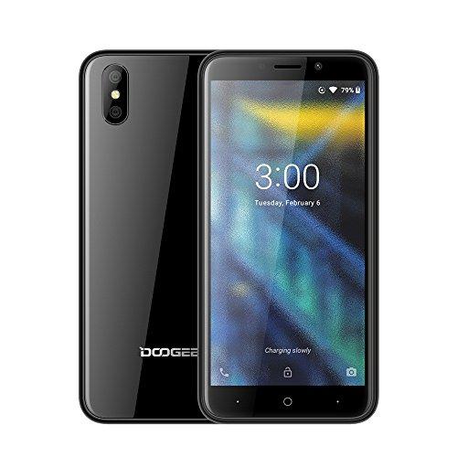 Günstiges Smartphone, DOOGEE X50 Smartphone ohne Vertrag, Billige Senioren Gute Handy, 5,0 Zoll, 3G Portable, Android Go Mobile, Telephone 1+8GB, Dual SIM, Kameras, Phone entsperrt Günstige (Schwarz)