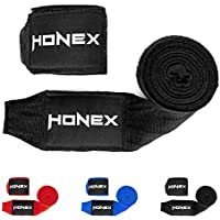 HONEX Lucha Boxeo Vendas 4Meter–Cintura Calidad Profesional Mano Wraps con Extra Ancho Cierre de Velcro (Negro)