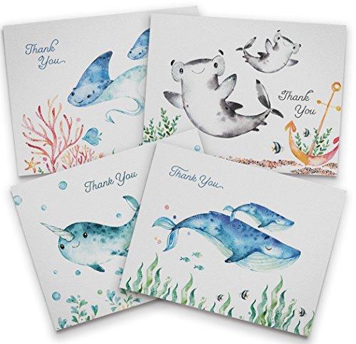 Baby Dusche Thank You Karten-Ocean Motto-12recycelten Karten und Umschläge-6Einzigartige Note Karte Designs-Made in USA