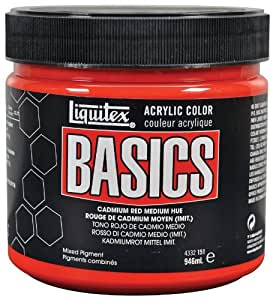 Liquitex Basics Pot de Peinture acrylique 946 ml Rouge de cadmium moyen