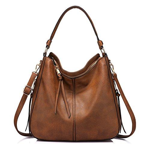 Handtaschen Material (Handtaschen Damen Lederimitat Umhängetasche Designer Taschen Hobo Taschen groß Mit Quasten Braun)