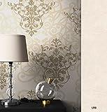 NEWROOM Barocktapete Tapete Beige Ornament Barock Vliestapete Gold Vlies moderne Design Optik Barocktapete Wohnzimmer Glamour inkl. Tapezier Ratgeber