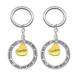Idea Regalo - Portachiavi Set Grandpa 2pcs ciondolo portachiavi regali per nonni giorno anniversario di matrimonio