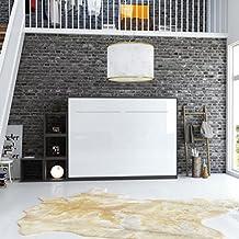 SMARTBett Cama plegable de 140 x 200 cm horizontal cama plegable & cama de pared sin colchón (Antracita / Blanco frente brillante)
