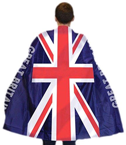 Kostüme Motto England (erdbeerloft - Karneval Kostüm Accessoire Cape England, Blau Weiss)