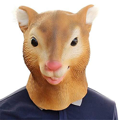 Neue Maske Latex Deluxe Neuheit Halloween Kostüm Party Eichhörnchen Weibliche Kuh Tierkopf - Weibliche Kuh Kostüm