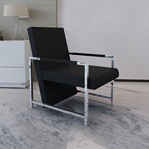 Lingjiushopping poltrona cubo nera di alta qualit¨¤ con piedi in cromo colore: nero durevole struttura in legno e legno compensato + piedini cromati
