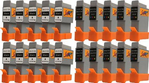 Preisvergleich Produktbild Start-Europe - 20 Ersatz Patronen kompatibel zu BCI-21 / BCI-24, Schwarz, Colour für Canon Pixma iP1000, iP1500, iP2000, MP110, MP130, MP390, i250, i255, i320, i350, i355, i450, i455, i470D, i475D, Smartbase MP360, MP370, MP375R, MP390, MPC190, MPC200, Pixus 320i, 455i, 475PD, MP10, MP360, MP370, MP375R, MP390, MP5, imageClass MPC190, MPC200, S200, S210, S300, S330, S330 Photo, Multipass F20, MP360, MP370