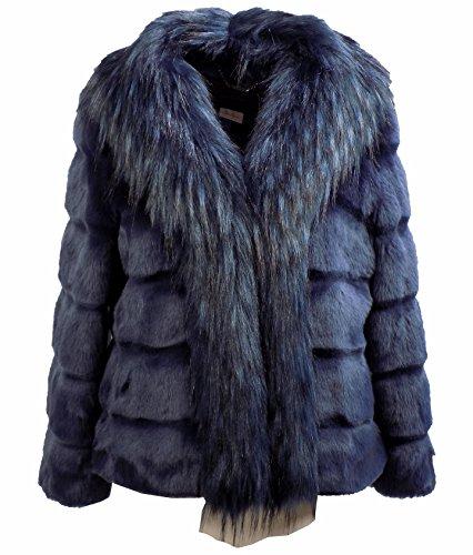 Giubbotto Donna NENETTE PASTORE Eco pelliccia Corta Autunno Inverno 2016 Blu denim 40