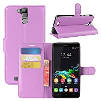 Oukitel K6000 Pro Case, HualuBro [All Around Protection] Premium PU Leather Wallet Flip Phone Protective Case Cover with Card Slots for Oukitel K6000 Pro Smartphone (Purple)