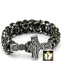 Thurisaz Rune militare Paracord Bracciale dura verde Camouflage Outdoor–Viking Vichinghi martello di Thor Argento Antico del 100% a mano di 25cm di circonferenza con rune di perle N. 22