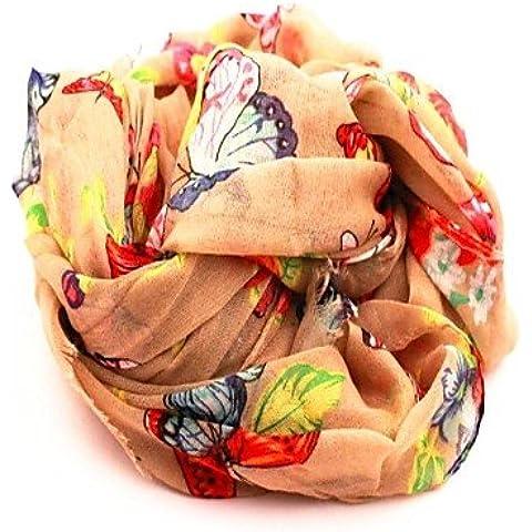 Xoe LE mariposa de la mujer está volando romántica señora bufanda de la gasa , beige-one-size ,