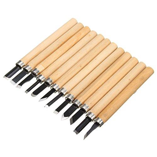 GIlH 12st Pro Basic Holzschnitzerei Meißel Set zur Holzdrehmaschine Gouges Werkzeug für Holzschnitzern