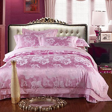 AIURLIFE Rosa Reina Deluxe de algodón de seda mezcla juego de cama King size , queen