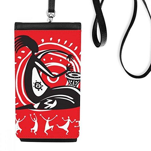 DIYthinker Tambourine Feiern mexikanischer Tanz Mexiko-Leder-Smartphone Handtasche Schwarze Phone Wallet Geschenk Hanging