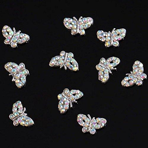 SODIAL(R) Papillon Perles 10 pieces Argent 3D alliage Art d'ongle tranches Paillettes DIY Decorations