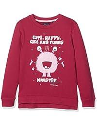 Blue Seven Cooles Mädchen Sweatshirt Mit Lustigem Monster Und Verlängertem Rückteil, Sweat-Shirt Fille