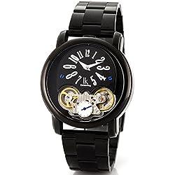 Alienwork IK mechanische Automatik Armbanduhr Skelett Automatikuhr Uhr schwarz Edelstahl 98157G-01