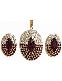 DollsofIndia Stone Studded Pendant & Earrings(Pendant - 1.5, Earrings - 0.75 In) (AS86-mod) - Red