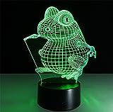 Tischleuchte Frosch-Schreibtischlampe 3d 7 Farben ändern Noten-Schalter Fernbedienung Tabelle LED-Licht-Nachtbeleuchtung Hauptdekoration Haushaltszubehör