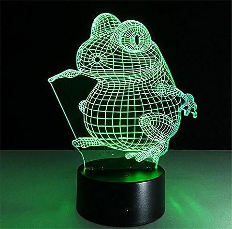 Veilleuses de Nuit Lampe de Table Frog lampe de bureau 3d 7 couleurs Changement tactile interrupteur à distance Tableau de commande LED Night Light Lighting Décoration Accessoires pour la maison