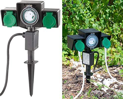 Royal Gardineer Zeitschaltuhr aussen: 2-fach-Garten-Steckdose mit Zeitschaltuhr, Spritzwasserschutz IP44 (Gartensteckdosen mit Zeitschaltuhr)