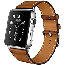 Pour Apple Watch Series 3 Bracelet, iBazal Apple Watch Band iWatch Bande 42mm Vache Bracelet en Cuir pour Apple Watch Série 3, Série 2, Série 1 - Marron 42mm
