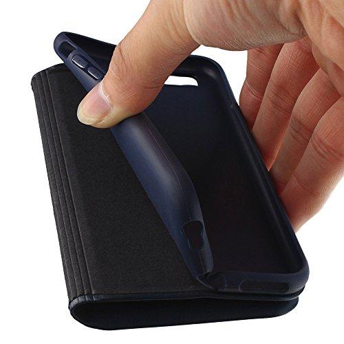 Nouske étui à rabat Folio en cuir pour Apple iPhone 6 Plus/6S Plus 5.5 pouces, Cover Coque TPU Porte cartes avec Support Protection intégrale,Bleu Marin. Bleu Marin