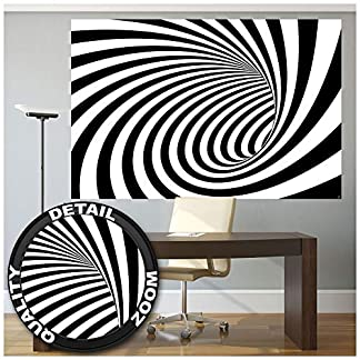 3D tunel blanco-negro fotomurales decoración de la pared by GREAT ART (210 x 140 cm)