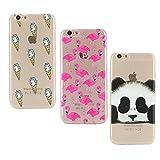 E-Mandala Apple iPhone 5 5S SE Hülle Ultra Dünn Slim Durchsichtig Silikon Schutzhülle Handy Tasche Etui Handyhülle Transparent mit Muster - Einhorn Panda Flamingo Unicorn